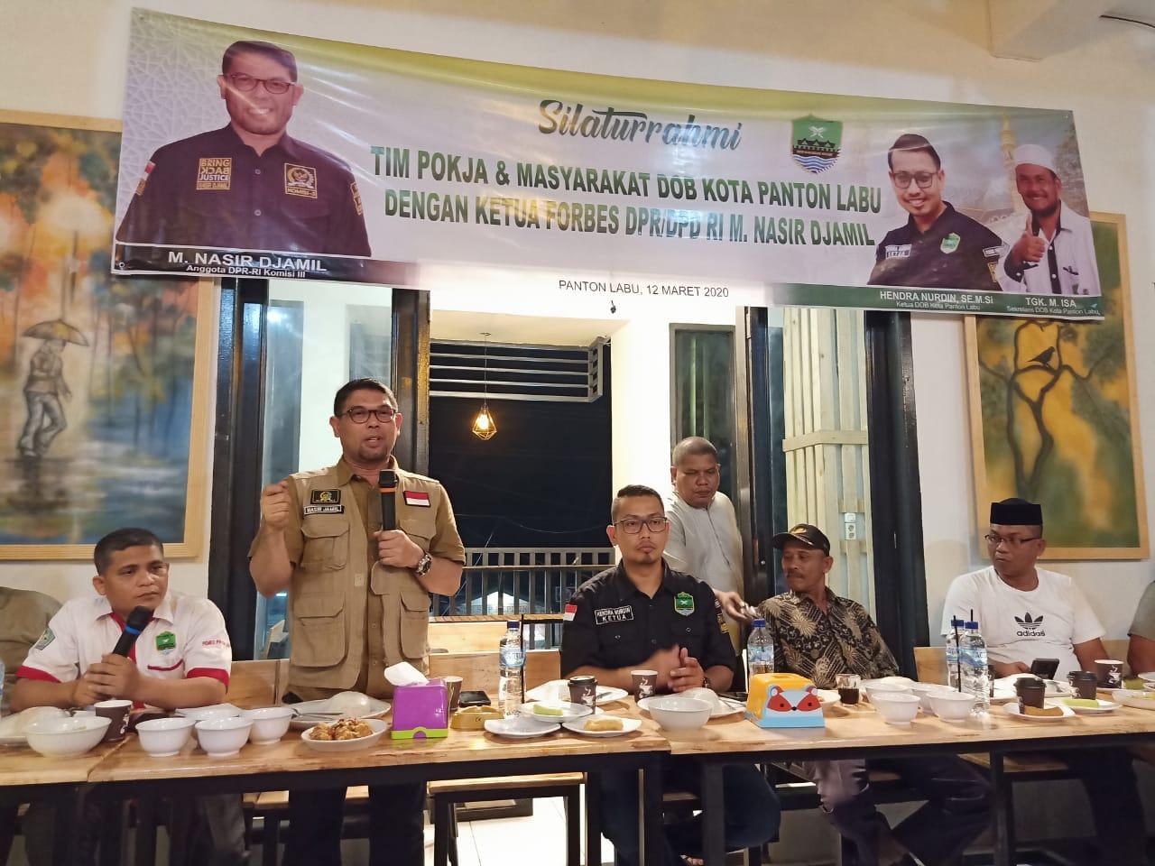 Tim Pokja dan Masyarakat DOB Kota Panton Labu Silaturrahmi Dengan Ketua FORBES DPR/DPD RI