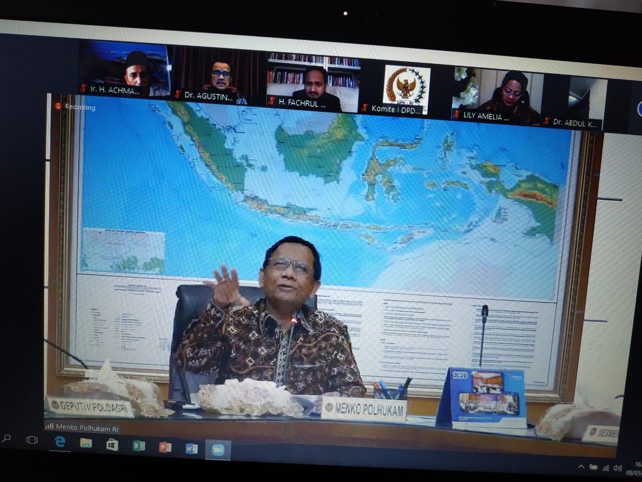 Rapat Kerja Online dengan Menko Polhukam, Senator Aceh Tolak Pemotongan Dana Otsus Aceh 1,4 Triliun